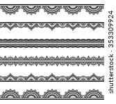 set of seamless borders for... | Shutterstock .eps vector #353309924