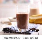 Glass Of Chocolate Milk On...