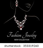 drawing of a woman with pearls...   Shutterstock .eps vector #353319260