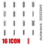vector grey wheat ear icon set. | Shutterstock .eps vector #353323043
