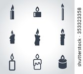 Vector Black Candles Icon Set....