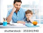 nice family photo of little boy ... | Shutterstock . vector #353341940