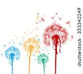 colored dandelions   | Shutterstock . vector #353342249