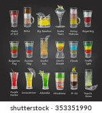 chalk drawings. set of shot... | Shutterstock .eps vector #353351990