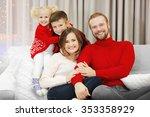 christmas family portrait in... | Shutterstock . vector #353358929
