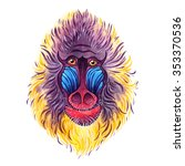 watercolor mandrill on white... | Shutterstock . vector #353370536