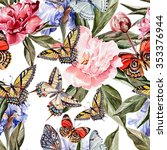 watercolor pattern with... | Shutterstock . vector #353376944