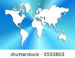 world map on blue burst... | Shutterstock . vector #3533803