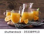 fresh orange juice in a glass... | Shutterstock . vector #353389913