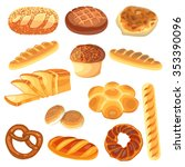 set of food   rye  wheat  whole ... | Shutterstock .eps vector #353390096