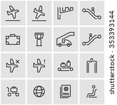 vector line airport icon set. | Shutterstock .eps vector #353393144