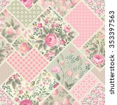 seamless floral patchwork... | Shutterstock .eps vector #353397563