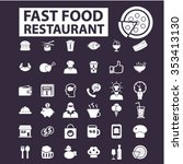 fast food restaurant  icons ... | Shutterstock .eps vector #353413130