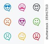 smile speech bubbles icons.... | Shutterstock . vector #353417513
