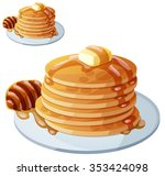 pancakes with honey and butter. ... | Shutterstock .eps vector #353424098