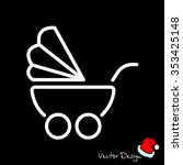 web line icon. baby carriage | Shutterstock .eps vector #353425148