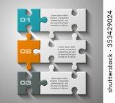 three piece flat puzzle round... | Shutterstock .eps vector #353429024