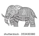hand drawn ethnic elephant.... | Shutterstock .eps vector #353430380
