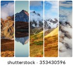 creative collage on mountain... | Shutterstock . vector #353430596