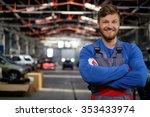 cheerful serviceman in a car... | Shutterstock . vector #353433974