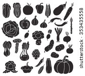 icons of vegetables. vector ... | Shutterstock .eps vector #353435558