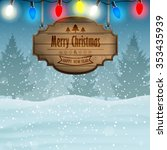 christmas card with wooden sign ... | Shutterstock .eps vector #353435939