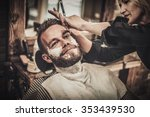 client during beard shaving in... | Shutterstock . vector #353439530