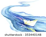 white paper boat floating in... | Shutterstock . vector #353440148