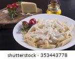 penne with milk cream sauce | Shutterstock . vector #353443778