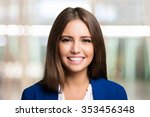 portrait of a smiling brunette | Shutterstock . vector #353456348