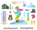 skier cartoon character and... | Shutterstock .eps vector #353468996