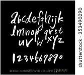 hand drawn alphabet   number... | Shutterstock .eps vector #353490290