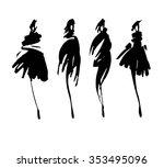 fashion models sketch hand... | Shutterstock .eps vector #353495096