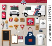 vector food truck corporate... | Shutterstock .eps vector #353497514
