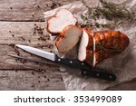 rustic food  roasted turkey... | Shutterstock . vector #353499089