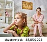 mother scolds her child girl. | Shutterstock . vector #353503028