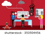 cyber security concept  flat... | Shutterstock .eps vector #353504456