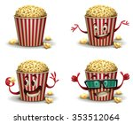 set of cartoon happy popcorn... | Shutterstock .eps vector #353512064