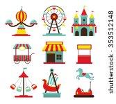 amusement park objects flat... | Shutterstock .eps vector #353512148