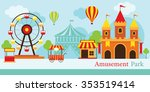 amusement park  carnival  fun...   Shutterstock .eps vector #353519414