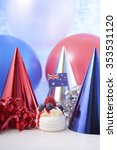 Small photo of Happy Australia Day Party in red, white and blue theme with mini pavlova and party decorations.