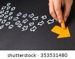 hand drawing orange arrow as... | Shutterstock . vector #353531480