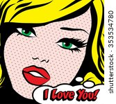 Pop Art Woman I Love You  Sign...
