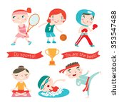 children doing different sports.... | Shutterstock .eps vector #353547488