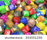 mobile app icons background. 3d   Shutterstock . vector #353551250