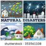 four scenes of natural... | Shutterstock .eps vector #353561108