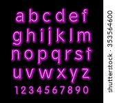 neon glow alphabet.  design... | Shutterstock . vector #353564600