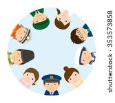 circle of people   various work ... | Shutterstock .eps vector #353573858