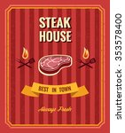 vintage steak poster vector... | Shutterstock .eps vector #353578400