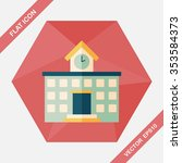 building school flat icon with... | Shutterstock .eps vector #353584373
